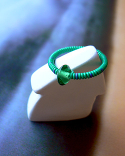 Surfer Style, Green Glass Ring